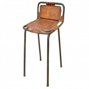 Aged Leather Metal High Bar Chair