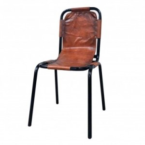 Aged Leather Metal High Bar Chair A