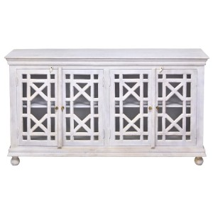 French Arched Hand Carved Wooden Buffet Sideboard White