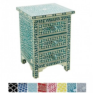 Maaya Bone inlay Teal Floral 2 drawer bedside lamp table