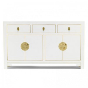 Golden Dragon Oriental Painted Solid Wood White Large Sideboard 140x35x85cm