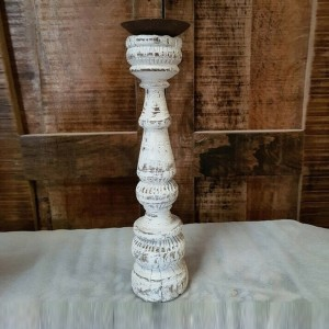 Antique Indian Carved Pillar Leg Solid Wood Candle Stand Holder White 8 x 8 x 33 cm