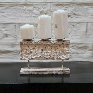 Antique Indian Solid Wood Carved Candle Holder White 27 x 5 x 19cm