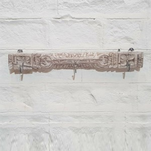 Hand Carved Indian Solid Wood Medium Wall Hanger Whitewash 63 cm