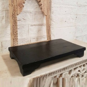 Indian Solid Wood Black Finish Bajot Stool Medium 56 x 31 x 8 cm