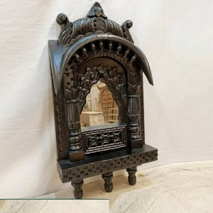 Indian Hand Carved Wooden Vintage Style Mehrab Window Mirror Frame Black 34cm
