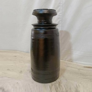 Indian Solid Wood Round Oil Pot Storage Black Finish 15x15x32 cm