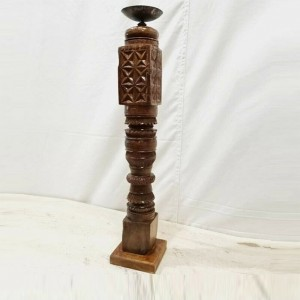 Antique Indian Pillar Leg Natural Wood Carved Vintage Candle Stand holder 58cm F