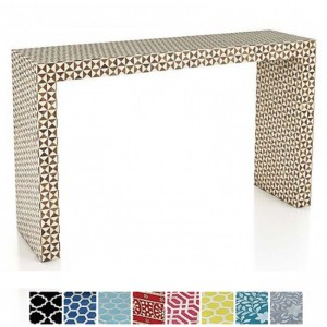 Maaya Bone inlay Black White Geometry Console Hall table