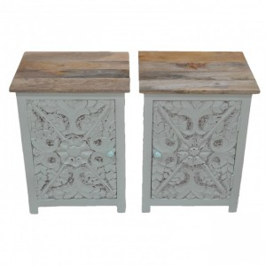 PARIS Carved Pair of Bedsides White with Natural Top D
