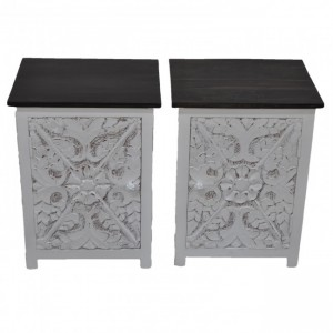 PARIS Carved Pair of White Bedsides with Chocolate Top E