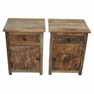 PARIS Carved Pair of Bedsides with Drawer Natural A