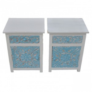 PARIS Carved Pair of White & Blue Bedsides with Drawer C