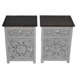 PARIS Carved Pair of White Bedsides with Drawer D