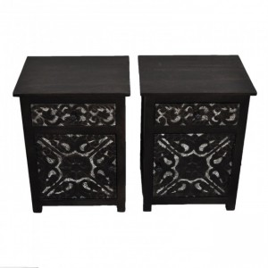 PARIS Carved Pair of Bedsides with Drawer Chocolate F