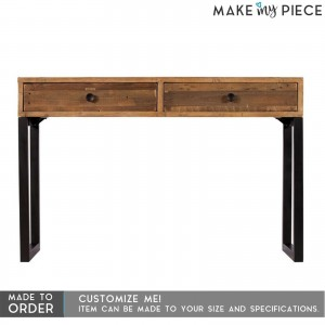 Industrial Metal Solidwood 2 Drawers Study Desk Hall Console table