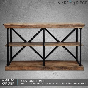 Angle Industrial Metal Wood Hall Side Table Brown