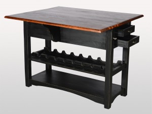 Indian Solid Wood Kitchen And Bar Table Bottle Rack Black