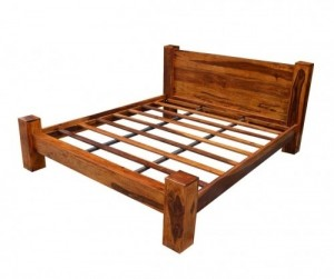 Boston Contemporary Solid Wooden Bed with Headboard L