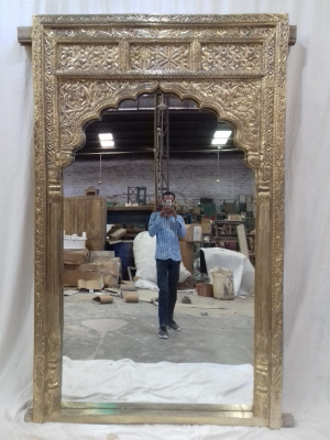 Mehrab Carved Mirror Frame With Golden Finish