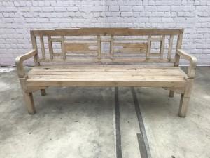 Vintage Indian Teak Wood Seating Bench 4 Seater