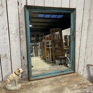 Reclaimed Wood Rustic Painted Indian Wall Mirror 80 x 105cm
