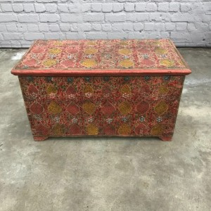 Mughal Hand Painted Indian Solid Wood Anglo Storage Chest