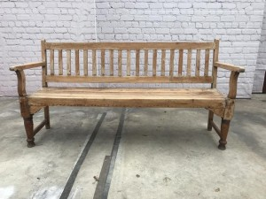 Vintage Indian Teak Wood Colonial Garden Bench 4 Seater B