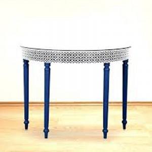 Maaya Bone inlay Blue White Floral Console Hall table