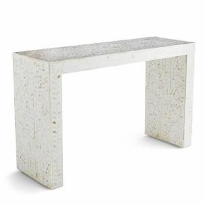 Maaya Bone inlay Grey White Floral Console Hall table