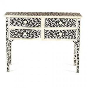 MAAYA Bone Inlay Solidwood 4 Drawer Hall Side Table Desk