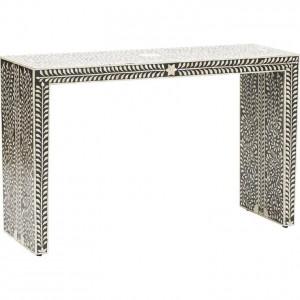 Maaya Bone inlay Black White Floral Console Hall table