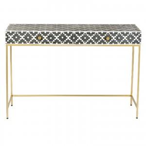 MAAYA Bone Inlay wooden 2 Drawer Hall Table Console