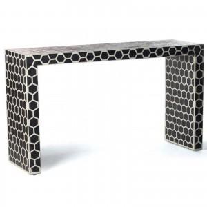 Maaya Bone inlay Black White Geometric Console Hall table