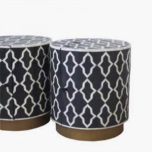 Maaya Brass Bone Inlay Round drum Side Table Black Daisy