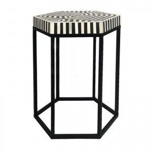 Maaya Bone Inlay Round lamp Table on metal stand