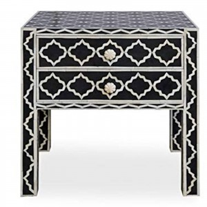 Maaya Bone Inlay Side Table cabinet Lamp table Black Geometric