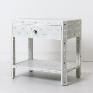 Maaya Bone Inlay Side Table cabinet Lamp table Grey Geometric