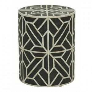 Maaya Brass Bone Inlay Round drum Side Table Black Flower L