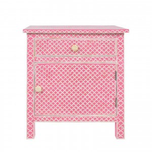 Maaya Mother of pearl Bedside cabinet Lamp table Pink Fish Scale