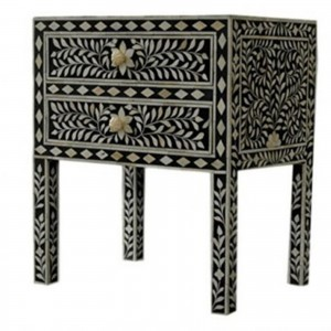 Maaya Bone Inlay Bedside cabinet Lamp table Black Floral