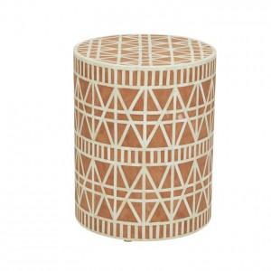 Maaya Brass Bone Inlay Round drum Side Table Orange Geometric L