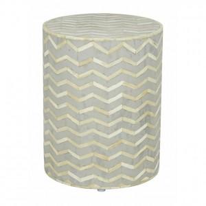Maaya Brass Bone Inlay Round drum Side Table Grey ZigZag L