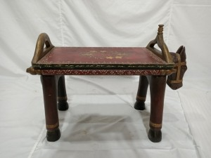 Antique Style Solid Indian Wooden Horse Table Brown