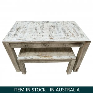 Nirvana Whitewash Dining Bench Setting, Reclaimed wood bench set, Small bench set Australia, Bench Setting Australia, Small Dining Bench Set, Reclaimed wood bench setting