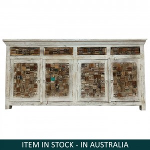 Liberty Reclaimed timber Boat Wood Large Sideboard Buffet Hutch White 1.8m
