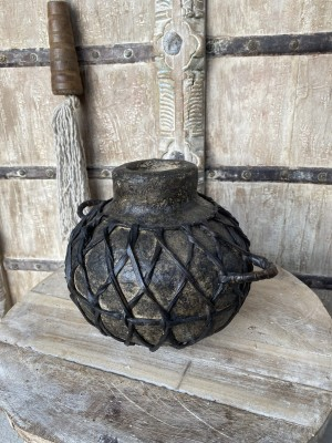 Wooden Oil Pot Paper Mache Round With Braided Leather