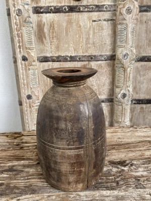 Nepalese Wooden Oil Pot 28cm Natural