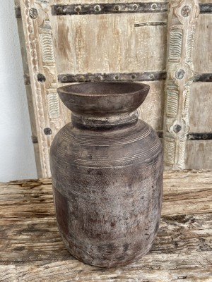 Nepalese Wooden Oil Pot 30cm Natural