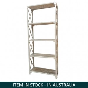 Angle Industrial Mango Wood White wash Book Shelf Display shelves Bookcase L